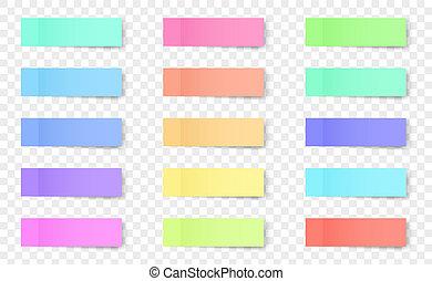 concept, couleur art, résumé, papier collant, conception, bookmarks, template., différent, notes, isolé, créatif, arrière-plan., rappels, note, illustration, transparent, ombres, graphique, élément, vecteur