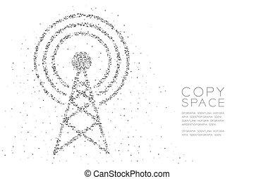 concept, couleur, résumé, conception carrée, polygone, antenne, espace, modèle, forme, noir, bas, géométrique, pixel, triangle, télécommunication, illustration, émission, fond, copie, blanc, boîte, tour