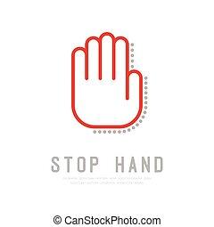 concept, couleur, signe, coup, conception, logo, isolé, doigt, blanc rouge, plat, espace, arrêt, illustration, main, fond, ombre, copie, 10, contour, langue, gris, vecteur, icône, eps, point