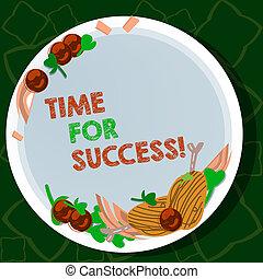 concept, couleur, texte, dur, vide, agneau, cerise, côtelettes, écriture, dessiné, tomates, récompenses, success., obtenir, aromate, après, main, signification, épice, plaque., efficace, travail, temps, professionnel, écriture