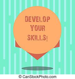 concept, couleur, texte, sur, edge., conception, quelque chose, vide, flotter, ton, développer, écriture, photo, cercle, capacité, business, ombre, améliorer, skills., mot, puits, temps