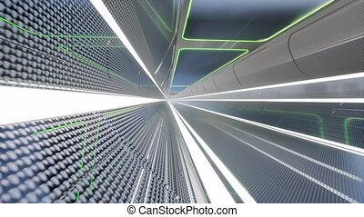 concept, couloir, tunnel, futuriste, science, technologie, 3d