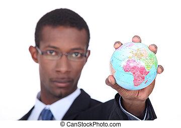 concept, coup, globe, miniature, tenue, homme affaires