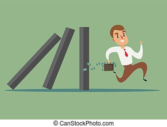 concept, course, business, loin, effet, homme affaires, domino