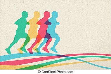 concept, course, gens, fond, silhouette, sport