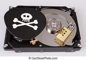 concept, crâne, commande dure, cyber, informatique, os, sécurité