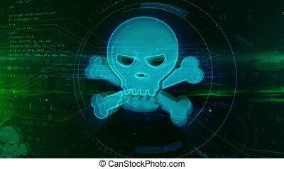 concept, crâne, cyber, crime, numérique, icône