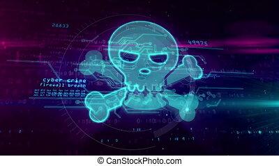 concept, crâne, cyber, crime, signe, hologramme