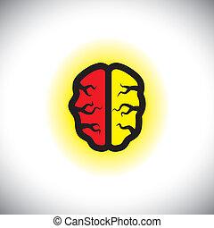 concept, créatif, cerveau, vecteur, intelligent, icône