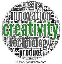 concept, créativité, nuage, mots, étiquette