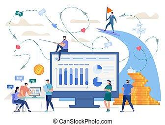 concept, créer, business, réussi, vecteur, ligne