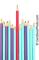 concept, crayon rouge, éditorial