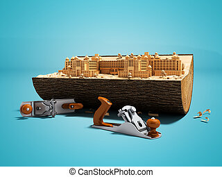 Concept creating your palace in wooden deck with hand plane 3d render on blue background with shadow