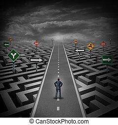 concept, crise, solution
