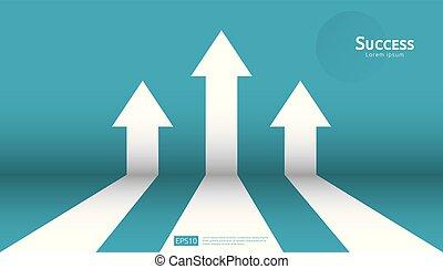 concept, croissance, levée, investissement, finance, haut., style, profit., roi., augmentation, plat, direction, retour, success., business, diagramme, bannière, illustration., cible, étirage, vecteur, flèche, vision
