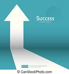 concept, croissance, levée, investissement, finance, haut., style, profit, roi., augmentation, plat, direction, retour, success., business, diagramme, bannière, illustration., cible, étirage, vecteur, flèche, vision