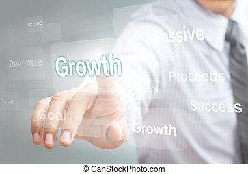 concept, croissance, pointage, homme
