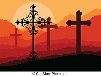 concept, croix, vecteur, coucher soleil, colline, fond, paysage