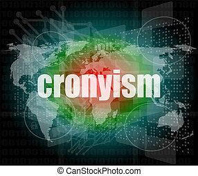 concept, cronyism, business, écran, mots, numérique