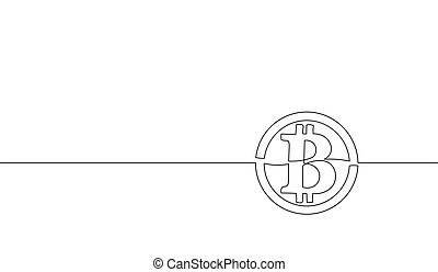 concept, croquis, continu, art, finance, moderne, blockchain, bitcoin, illustration, silhouette., cryptocurrency, banque, unique, vecteur, conception, international, ligne, une, technologie, dessin, contour
