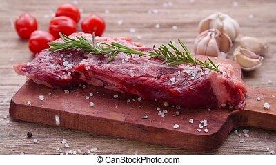 concept., cru, table., bois, cuisine, bifteck boeuf
