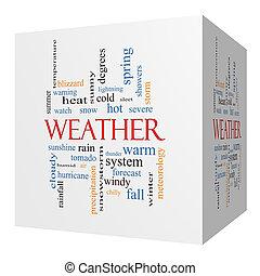 concept, cube, mot, temps, nuage, 3d
