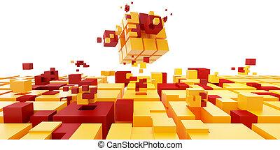 concept., cubes, collaboration, puzzle