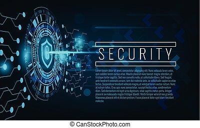 concept, cyber, arrière-plan., attaque, techno, sécurité