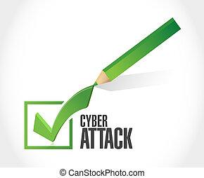 concept, cyber, mark, aanval, meldingsbord, controleren