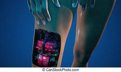 concept, cyborg, robot, humanoïde, woman., futuriste