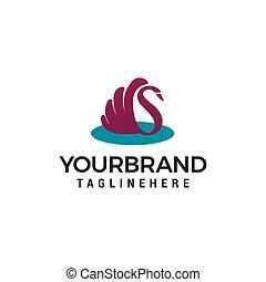 concept, cygne, vecteur, conception, gabarit, logo