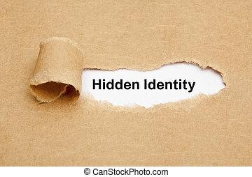 concept, déchiré, caché, papier, identité