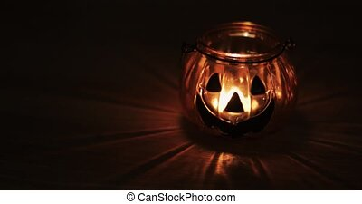 concept, décoration, -, halloween, bougie, ou, fin, découpé, fetes, cric-o-la lanterne, citrouille, haut