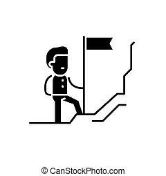concept, découvreur, isolé, illustration, signe, arrière-plan., vecteur, noir, icône, symbole