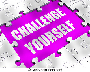 concept, défi, requis, -, illustration, vous-même, signification, détermination, icône, 3d