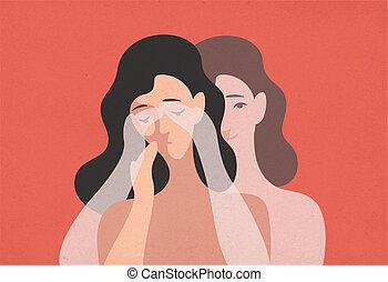 concept, démenti, self-deception, tête, triste, jumeau, position femme, elle, jeune, réalité, derrière, spectral, plat, yeux, moderne, abaissé, rationalization., hands., illustration., couverture, vecteur