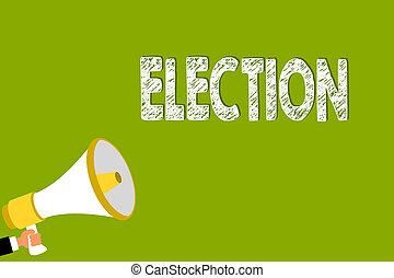 concept, démontrer, bureau, texte, organisé, vote, message, haut-parleur, politique, écriture, election., tenue, porte voix, parler, loud., business, choix, fond, formel, homme, mot, vert