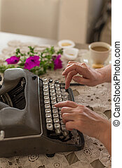 concept., dactylographie, typewriter., retro, écriture