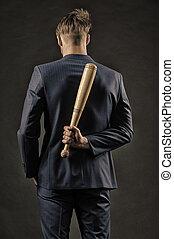 concept, danger, bas, peaux, aggression., vue., agression, lent, latent, arrière-plan., derrière, complet, caché, homme, sien, sombre, arrière, formel, chauve-souris, bois, garder, dos, homme affaires, calme, ou