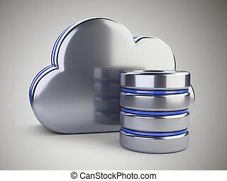 concept, databank, gegevensverwerking, opslag, grijze , symbool., achtergrond., wolk