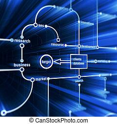 Concept database. Technology 3d render