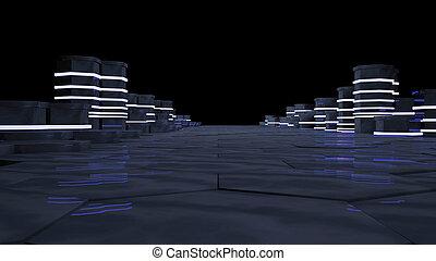 concept, datacenter., illustration., lichten, data, abstract, neon, kelner, rekken, vertolking, verbinding, black , achtergrond., groot, kamer, opslag, technologie, concept., futuristisch, 3d