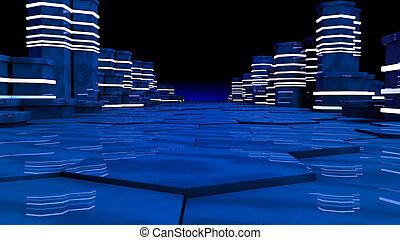 concept, datacenter., salle, futuriste, serveur