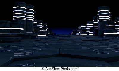 concept, datacenter., salle, lumières, grand, néon, serveur,...