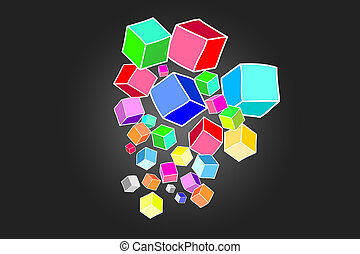 concept, de, colorfull, données, cube, isolé, sur, background-, technologie, concept