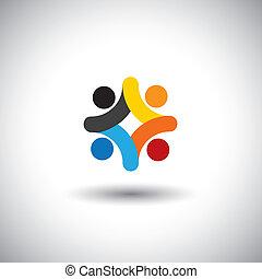concept, de, communauté, unité, solidarité, &, gens, icônes, -, vecteur, graphic., ceci, illustration, boîte, aussi, représenter, coloré, gosses, jouer ensemble, enfants, dans, cour récréation scolaire, employés, réunion