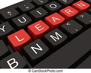 concept, de computer van het toetsenbord, klee, internet, opleiding, leren