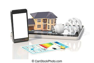 concept, de, design., résidentiel, maison, avoir, vue, où, boîte, voir, meublé, salles, à, outils, sur, architecte, blueprints., logement, project., 3d, illustration