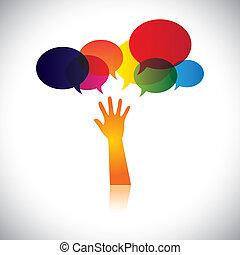 concept, de, gens dans, détresse, demander, aide, soutien, ou, assistance., ceci, résumé, vecteur, graphique, aussi, représente, personne, chercher, amour, soin, aide, soccour, etc