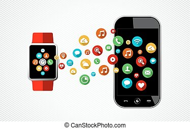 concept, de, intelligent, montre, et, téléphone, à, app, icônes